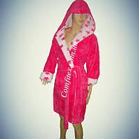 Женский махровый халат Soft (Короткий с капюшоном) L/XL - 48-52 - Турция) ht-033