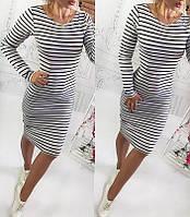 Облегающее женское платье из вискозы в черную полосу белого цвета.  Арт-6377/10