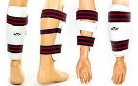 Защита ног и рук тхэквондо (голень+предплечье) WTF BO-4382-W(XL) (PU, р-р XL, белый, набор 4 щитка)