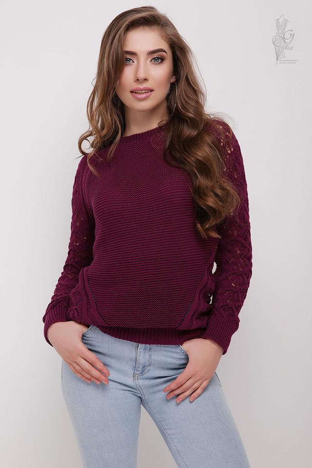 Цвет баклажан Вязаного женского свитера Кивана