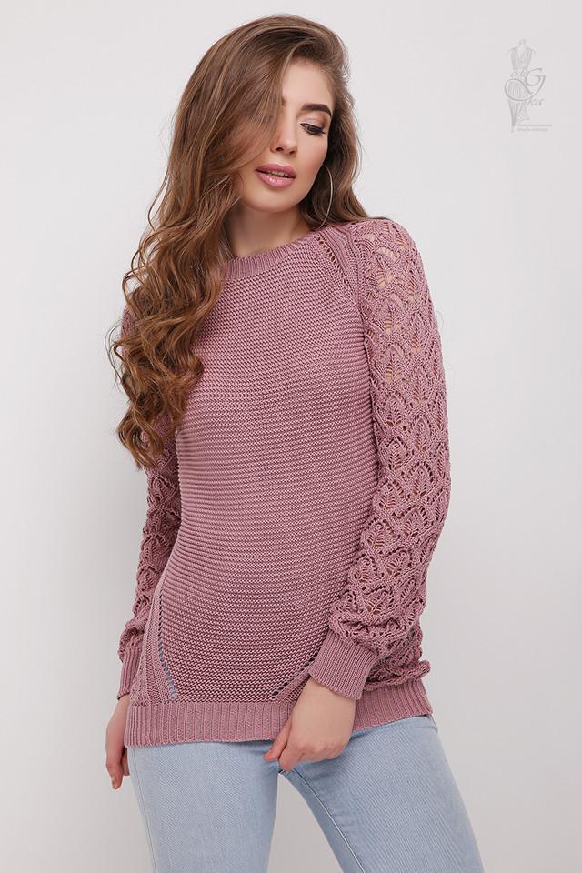 Цвет роза Вязаного женского свитера Кивана