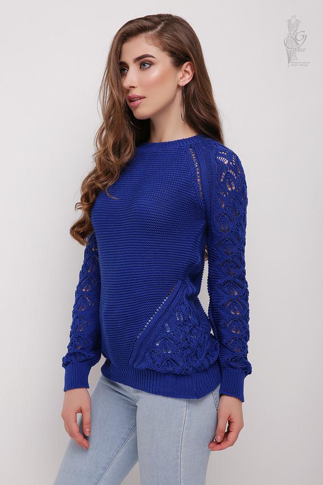 Цвет синий Вязаного женского свитера Кивана