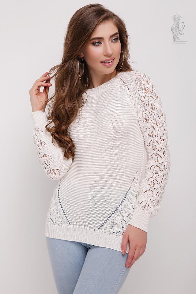 Фото Вязаного женского свитера Кивана из хлопка