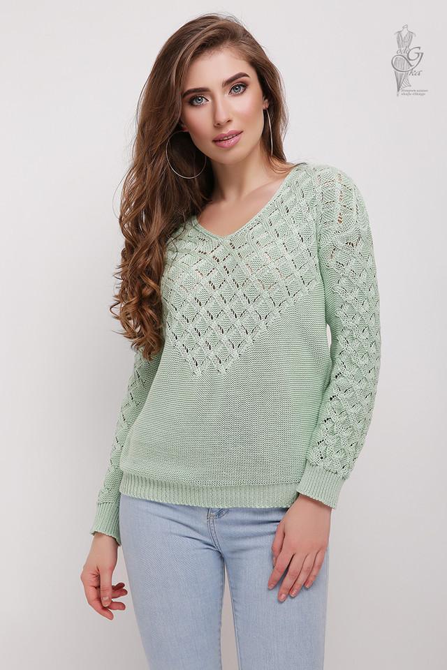 Цвет мята Вязаного женского свитера Мамея