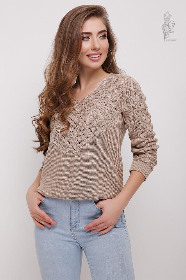 Цвет кофе Вязаного женского свитера Мамея