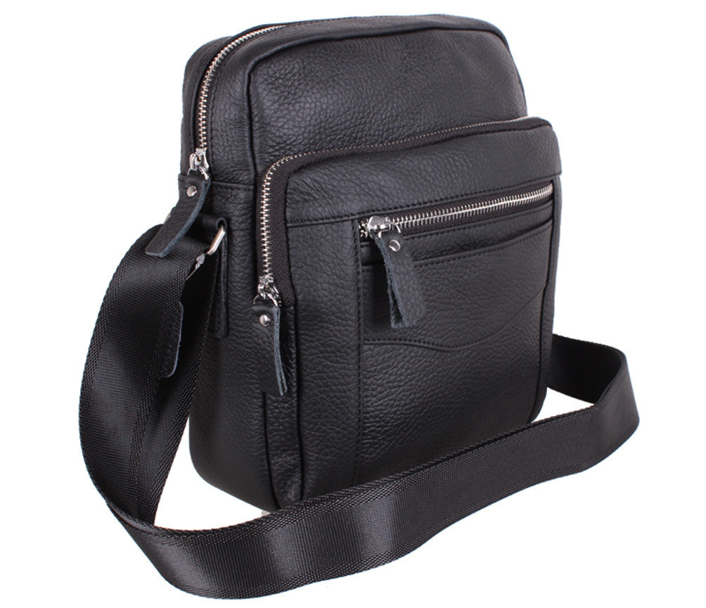 Мужская кожаная сумка 20166 черная