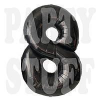 Фольгированная цифра 8 черная, 100 см