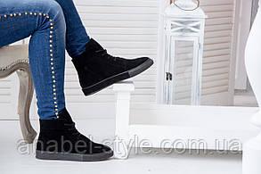 Ботинки из натуральной замши осень-весна черного цвета на шнуровке код 1396 AR, фото 2