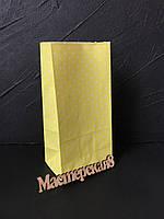 Пакет подарочный бумажный , желтый в горохи 20*9*6,5см
