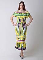 Летнее разноцветное платье Gucci с открытыми плечами