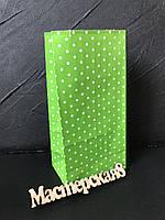 Пакет подарочный бумажный , зеленый в горошек 20*9*6,5см