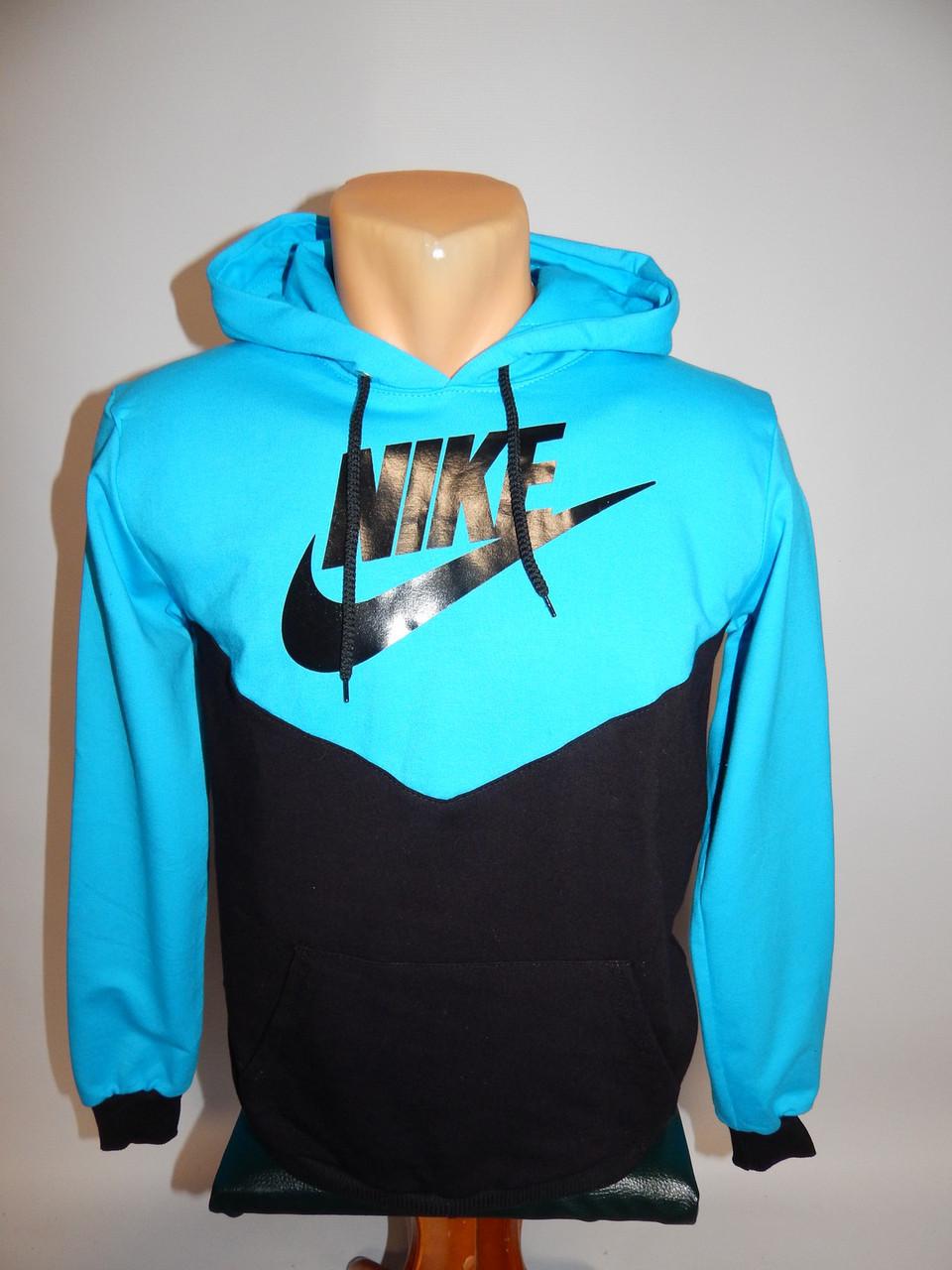 Толстовка дитяча весна-осінь Nike репліка чорний з блакитним р. 40-42