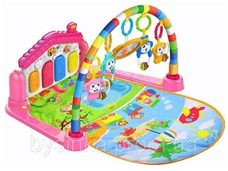 Музыкальный развивающий коврик с пианином (розовый) Huanger