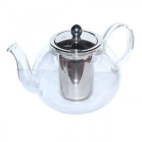 Чайник стеклянный Классика с металлическим ситом и крышкой, 1000 мл