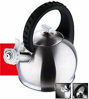 Чайник из нержавеющей стали со свистком Bergner BG 3742-BK (2,8 л), фото 1