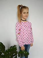 Розовая блуза с вышивкой в горошек с рукавами фонарик