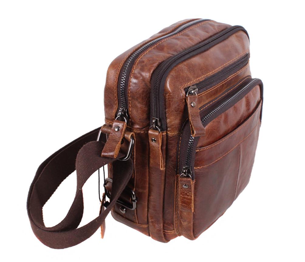 Мужская кожаная сумка BR5262 коричневая