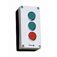 "Пост кнопочный трехместный ""СТАРТ-СТОП-СИГНАЛ"" 10A 230/400B (зеленая, красная, N0+NC, AD22 зеленая)"
