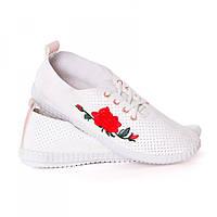 Мокасины белые роза красная Gipanis
