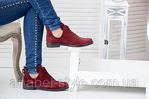 Туфлі з натуральної замші осінь-весна бордового кольору з вирізами з боків на шнурівці код 1400 AR, фото 2