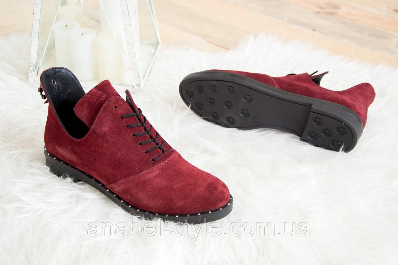 Туфлі з натуральної замші осінь-весна бордового кольору з вирізами з боків на шнурівці код 1400 AR