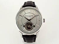 Строгий стиль от Patek Philippe - tourbillon черный кожаный ремешок, корпус и циферблат цвет серебро
