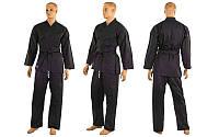 Черное кимоно для каратэ MATSA МА-0017 (хлопок, р-р 0-6 (130-190см), плотность 240г на м2)