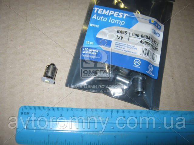 Лампа LED габарит посветка панели приборов BA7s 1SMD 12V WHITE TEMPEST 4905973785