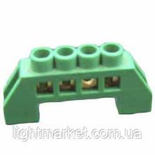 Клеммник П-образный. (шина нулевая) в изоляции зеленый 4 отверстия