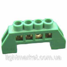 Клеммник П-образный. (шина нулевая) в изоляции зеленый 6 отверстий