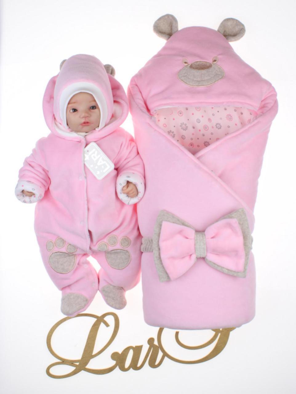 """Демисезонный комплект для новорожденных девочек """"Панда лапки"""" розовый"""