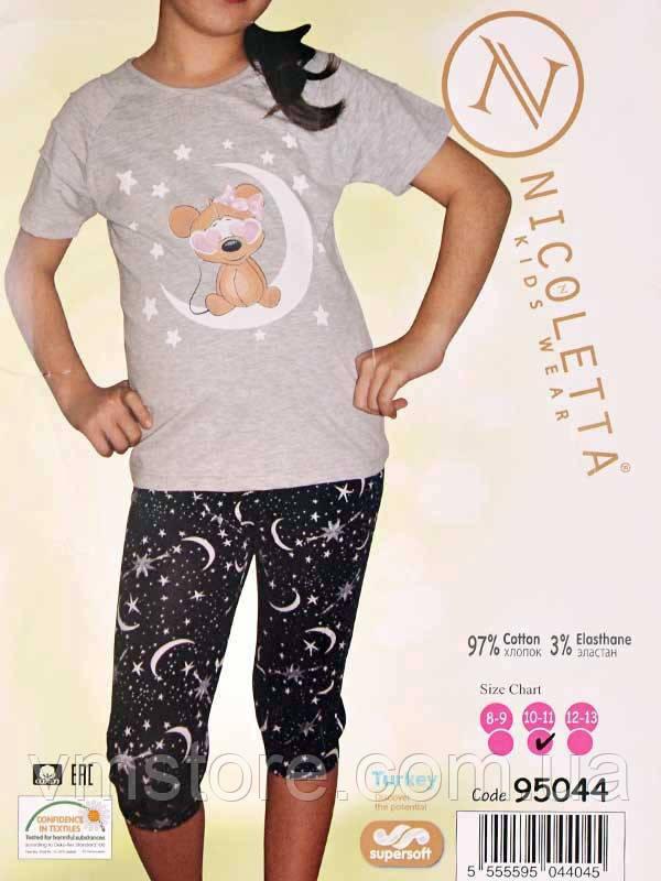 Пижама подростковая (футболка - капри) (ростовка - 3 шт.) 95044