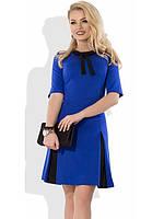Трикотажное синее офисное платье Д-1077