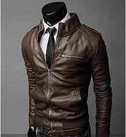 Модная демисезонная мужская куртка ВСКА темно-коричневая код 47