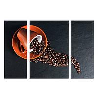 """3-х Модульная картина на холсте """"Кофейная композиция"""" 110х70см"""