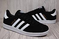 Черные замшевые кеды,кроссовки Adidas gazelle унисекс, фото 1