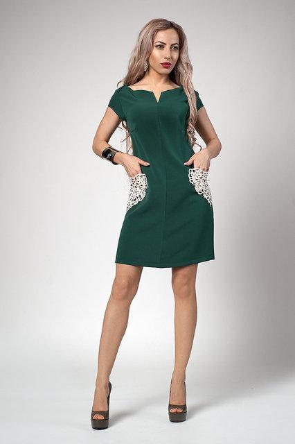 Короткое нежное молодежное платье с кружевными карманами 42,44,46,48