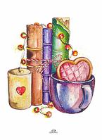 """Почтовая открытка """"Книги и свеча"""", фото 1"""