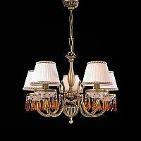 Люстра подвесная RECCAGNI ANGELO L 4762/5 золото/ткань/хрусталь