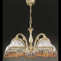Люстра подвесная RECCAGNI ANGELO L 6001/5 бронза/serigrafia/topaz