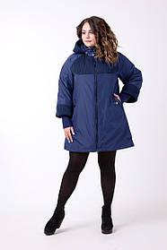 Женский пальто А-образного силуэта размеров 599 / размер 56-72 / цвет синий / батал
