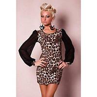 Модное леопардовое мини-платье