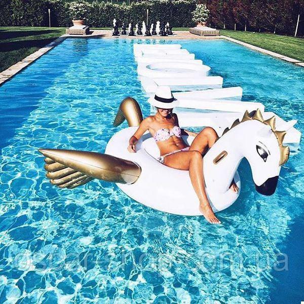 Надувной круг Единорог Золотой 240 см/ Круг для плавания / Надувной круг Единорог для бассейна