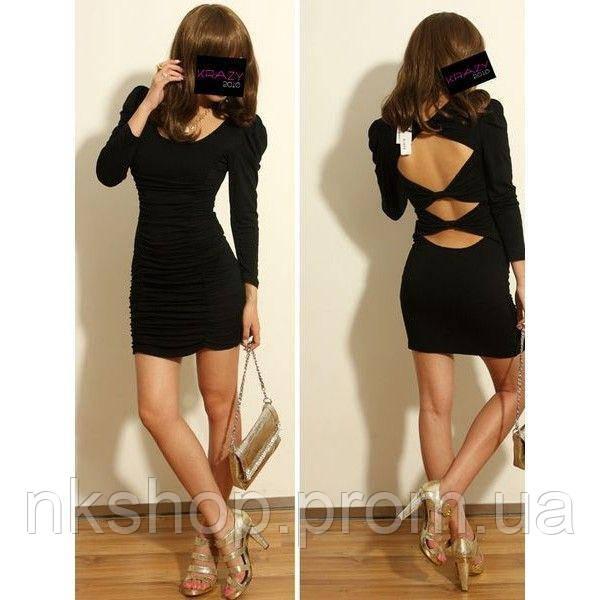 461c1ab0cec Черное мини платье с разрезами на спине.