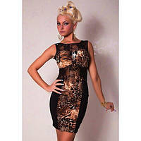 Стильное платье с кружевными вставками и хищным принтом