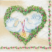 Салфетка для декупажа Пара свадебных голубей 33см х 33см
