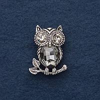 Брошь Сова на ветке с серым кристаллом 3х2,5см серый металл