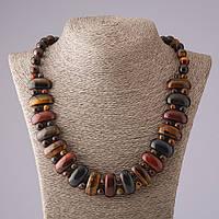 Ожерелье Клеопатра глазковый кварц ассорти звено 12*25 мм и шарик 10mm L50см