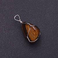 Кулон из натурального камня Тигровый Глаз в серебристой оплетке 2,5х2,2см (+-)