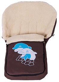 Зимний конверт Qvatro № 8 с аппликацией коричневый (синий и белый дельфины)